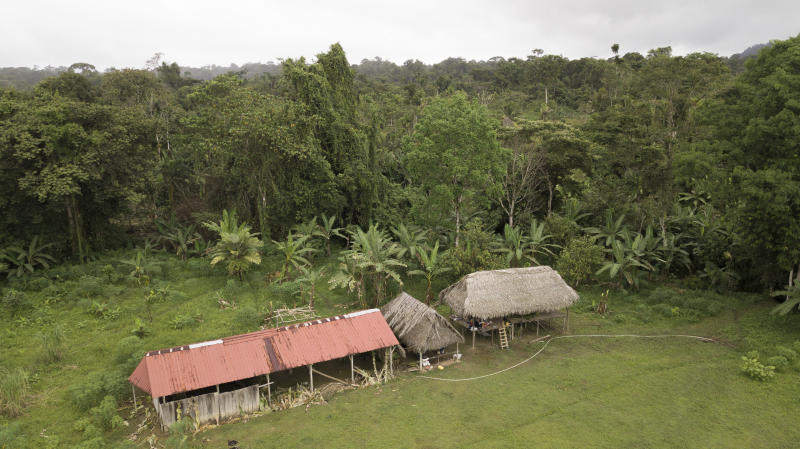 "View of the improvised temple where a pregnant woman, five of her children and a neighbor were killed in a religious ritual in the jungle community of el El Terron, Panama, Friday, Jan. 17, 2020. The indigenous residents were rounded up by about 10 lay preachers on Jan. 13 and tortured, beaten, burned and hacked with machetes to make them ""repent their sins"", authorities said. (AP Photo/Arnulfo Franco)"