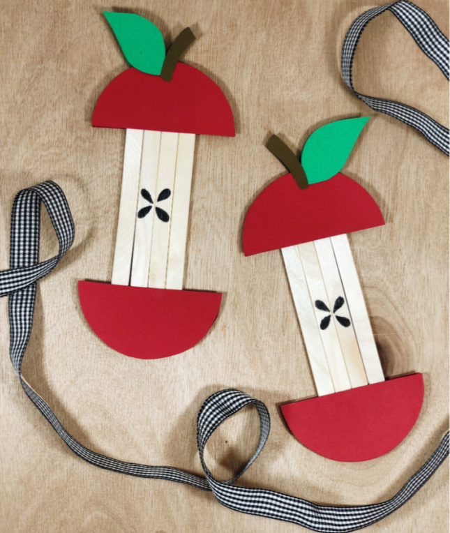 """<p>A few craft sticks glued together make the easy bones of an apple core. Once the craft is complete, you can string them together to make a fall banner. Note to teachers: This is also a good idea for the <a href=""""https://www.goodhousekeeping.com/life/g22550711/back-to-school-activities/"""" rel=""""nofollow noopener"""" target=""""_blank"""" data-ylk=""""slk:first day of school"""" class=""""link rapid-noclick-resp"""">first day of school</a>.</p><p><em><a href=""""https://www.dearcreatives.com/popsicle-stick-apple-craft/"""" rel=""""nofollow noopener"""" target=""""_blank"""" data-ylk=""""slk:Get the tutorial at Dear Creatives »"""" class=""""link rapid-noclick-resp"""">Get the tutorial at Dear Creatives »</a></em></p><p><strong>RELATED:</strong> <a href=""""https://www.goodhousekeeping.com/home/craft-ideas/g22593259/back-to-school-diy/"""" rel=""""nofollow noopener"""" target=""""_blank"""" data-ylk=""""slk:Fun Back-To-School Crafts to Kick off the Year on a Creative Note"""" class=""""link rapid-noclick-resp"""">Fun Back-To-School Crafts to Kick off the Year on a Creative Note</a></p>"""