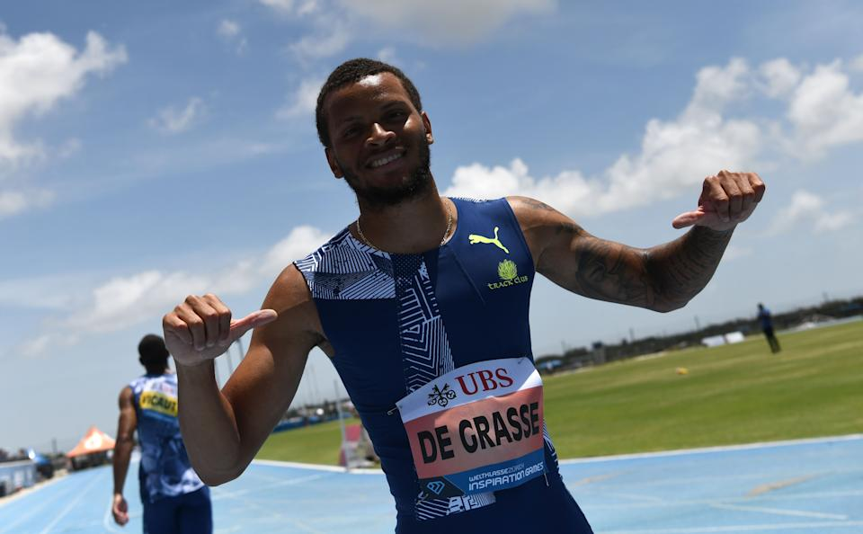Canada's Andre De Grasse (pictured) celebrates after the men's 100 Yard.