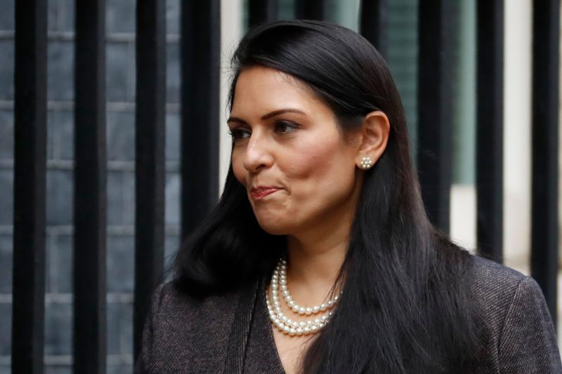 Britain's Home Secretary Priti Patel arrives at 10 Downing Street in central London on February 13, 2020 as the prime minister reshuffles his cabinet. - Britain's prime minister revamped his top team on February 13 in his first cabinet reshuffle since taking Britain out of the European Union. (Photo by Tolga AKMEN / AFP) (Photo by TOLGA AKMEN/AFP via Getty Images)