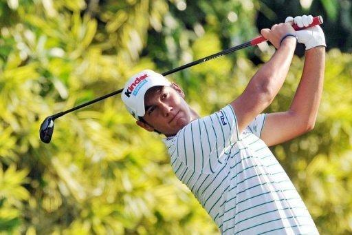 Matteo Manassero of Italy tees off during third round of the Barclays Singapore Open at the Sentosa Golf Club in Singapore on November 10, 2012. Manassero holed a 12-foot eagle putt on the third play-off hole to claim a dramatic victory over South Africa's Louis Oosthuizen at the Singapore Open on Sunday