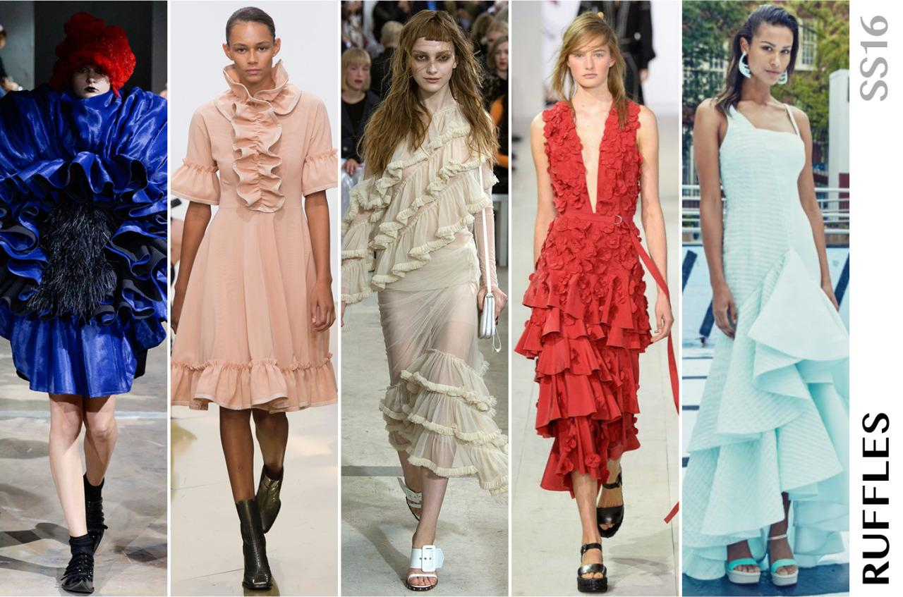 <p>We first saw ruffles in New York but with a decidedly Latin flavor at Oscar de la Renta and Proenza Schouler. In London, the ruffles became more disheveled at Marquis Almeida and quite dramatic at Erdem. The frills kept popping up in Milan and in Paris, including at Commes des Garcons where they seemed to burst into a starburst concoctions.</p>