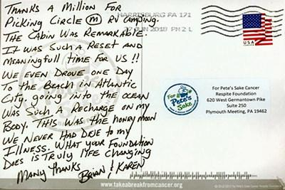 After spending their respite at Thousand Trails' Circle M RV Campground, Brian and Karen send a thank you note to For Pete's Sake