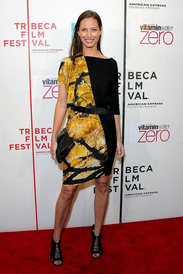 "Christy Turlington was also in the Big Apple for the annual event. The 41-year-old model and mother of two paired her python clutch and lace-up booties with a two-tone Zero + Maria Cornejo Fall 2010 frock for the premiere of ""Nice Guy Johnny."" Neilson Barnard/<a href=""http://www.gettyimages.com/"" target=""new"">GettyImages.com</a> - April 23, 2010"