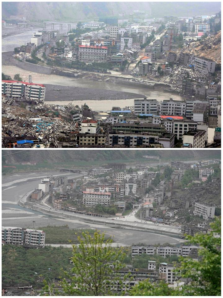 "A combination picture shows floodwaters from Tangjiashan quake lake flowing through the devastated city of Beichuan in the aftermath of the 2008 Sichuan earthquake, June 11, 2008 (top), and the same view ahead of the tenth anniversary of the earthquake, in Beichuan county, Sichuan province, China, April 6, 2018. REUTERS/Jason Lee  SEARCH ""BEICHUAN ANNIVERSARY"" FOR THIS STORY. SEARCH ""WIDER IMAGE"" FOR ALL STORIES."