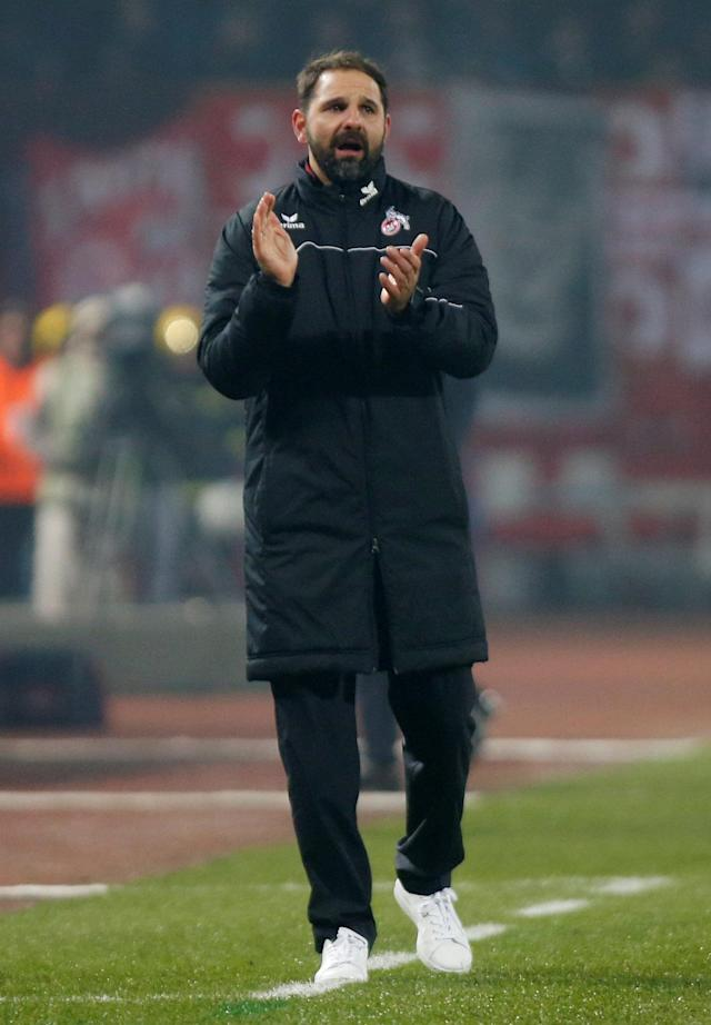 Soccer Football - Europa League - Red Star Belgrade vs FC Cologne - Rajko Mitic Stadium, Belgrade, Serbia - December 7, 2017 Cologne coach Stefan Ruthenbeck reacts REUTERS/Novak Djurovic