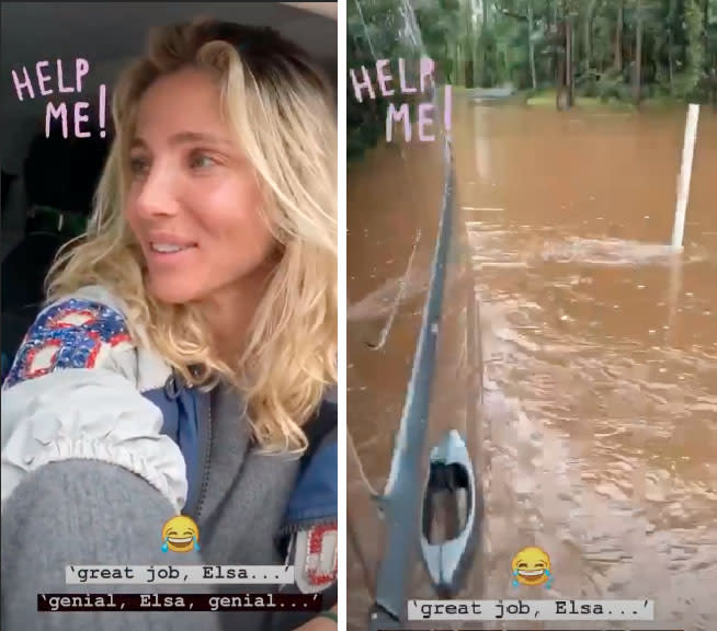 Elsa Pataky stuck in van after she tried to cross flooded road after torrential rain NSW