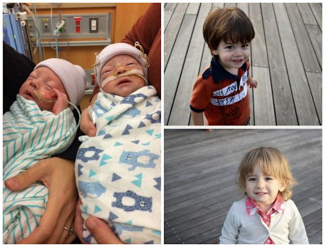 My twins, Elliot and Camryn, were born onSept. 8, 2015, at 32 weeks, two days gestation. They were in the NICU for 57 days. They are happy and healthy kids!<br><br><i>--Nathania</i>