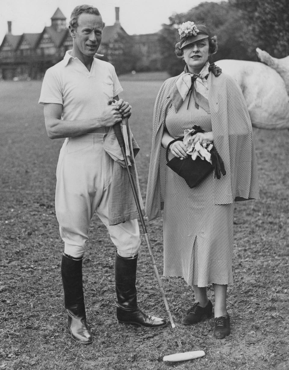 English actor Leslie Howard (1893 - 1943) with his wife Ruth Evelyn at Ranelagh in Dublin, Ireland, for a game of polo, 11th June 1936. Howard returned from Hollywood with some polo ponies, after filming 'Romeo and Juliet'. (Photo by Reg Speller/Fox Photos/Hulton Archive/Getty Images)
