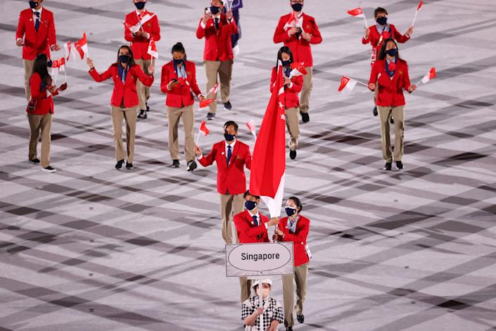 Team Singapore during the 2020 Tokyo Olympics opening ceremony.