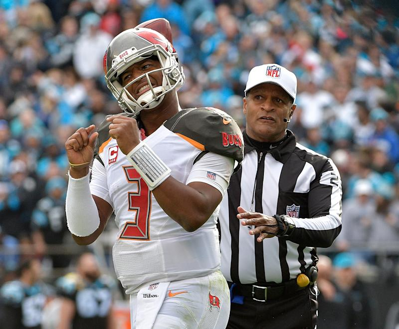 Jameis Winston is looking at a potential three-game suspension for an alleged incident involving an Uber driver. (Getty Images)