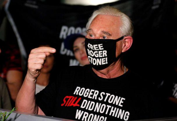 PHOTO: Roger Stone, a longtime friend and adviser of President Donald Trump, reacts after Trump commuted his federal prison sentence outside his home in Fort Lauderdale, Fla., July 10, 2020. (Joe Skipper/Reuters)