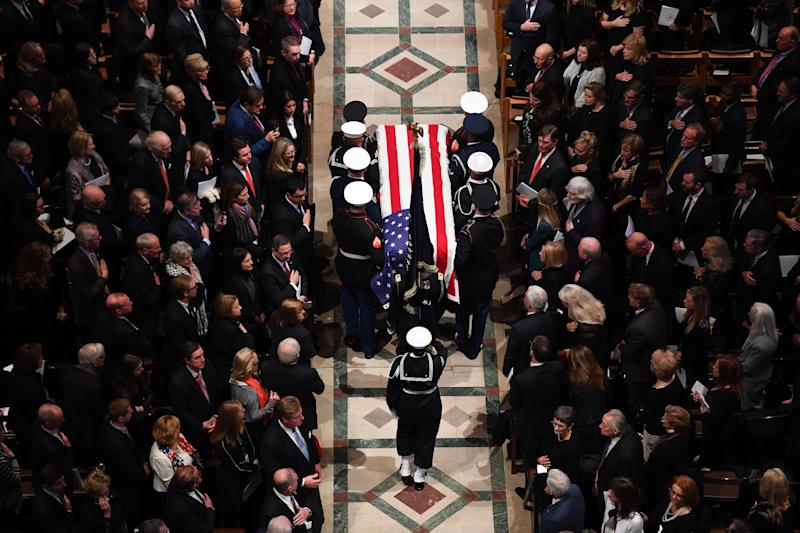 Former President George H.W. Bush is honored with a state funeral at the Washington National Cathedral. Bush, died Nov. 30 at age 94.