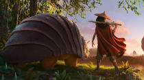 Disney's latest original animation follows a fearless warrior voiced by <em>Star Wars</em> actor Kelly Marie Tran as she travels in search of the titular creature, whose vocal tones will be provided by the brilliant Awkwafina. (Credit: Disney)
