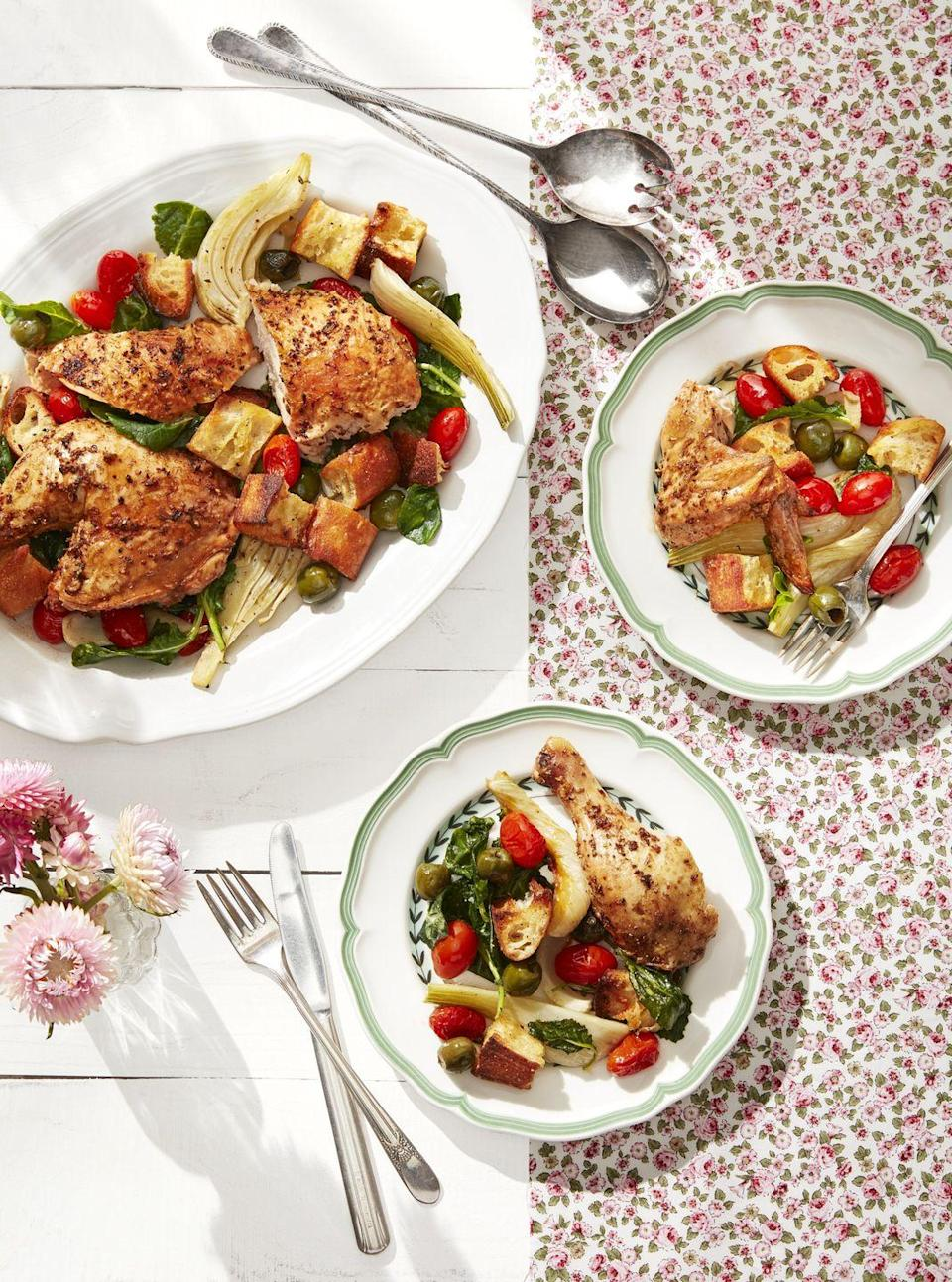 "<p>The genius of this recipe? Everything roasts together, which both melds the flavors and makes cooking and cleanup a breeze.</p><p><strong><a href=""https://www.countryliving.com/food-drinks/a30613306/roasted-chicken-with-fennel-tomatoes-recipe/"" rel=""nofollow noopener"" target=""_blank"" data-ylk=""slk:Get the recipe"" class=""link rapid-noclick-resp"">Get the recipe</a>.</strong></p><p><strong><a class=""link rapid-noclick-resp"" href=""https://www.amazon.com/dp/B00282JL7G?tag=syn-yahoo-20&ascsubtag=%5Bartid%7C10050.g.34100795%5Bsrc%7Cyahoo-us"" rel=""nofollow noopener"" target=""_blank"" data-ylk=""slk:SHOP SHEET PANS"">SHOP SHEET PANS</a><br></strong></p>"
