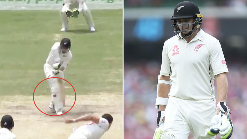 Fans fumed after Tom Latham was given out following a controversial DRS decision. (Images: Fox Sports/Getty Images)