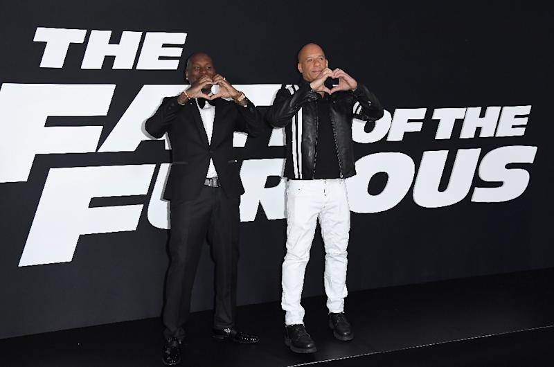 Actors Tyrese Gibson and Vin Diesel attend the premiere of Universal Pictures' 'The Fate Of The Furious' at Radio City Music Hall on April 8, 2017 in New York City