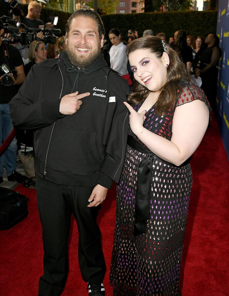 """The Oscar-nominated actor is the <em>Booksmart</em> star's older brother. Hill has so much admiration for his younger sister, he's called her his """"<a href=""""https://people.com/movies/jonah-hill-says-sister-beanie-feldstein-is-his-hero-booksmart/"""">personal hero</a>,"""" and <a href=""""https://people.com/style/jonah-hill-tattoo-sister-beanie-feldstein-name/"""">even has a tattoo dedicated to her</a> that reads, """"Hello, Beanie!"""""""
