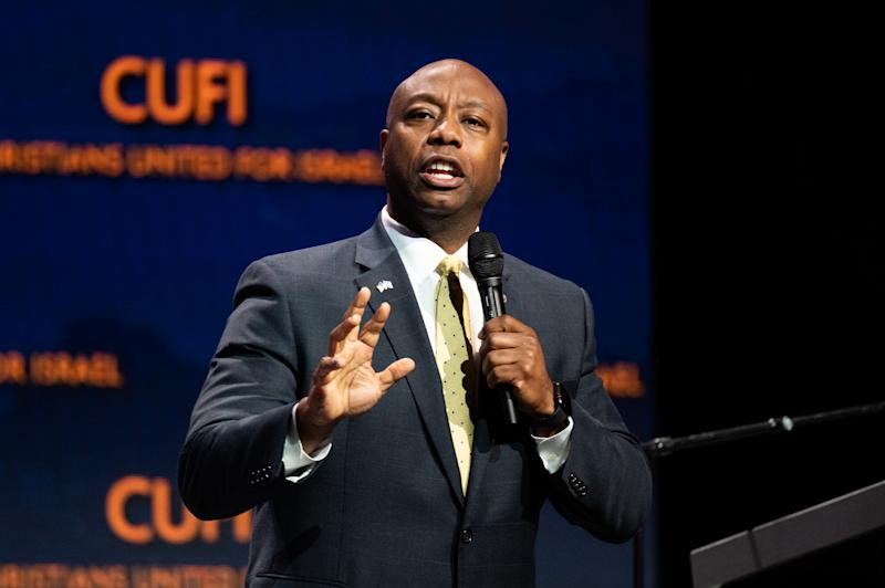 Senator Tim Scott (R-SC) speaking at the Christians United for Israel (CUFI) Washington Summit in Washington, DC. (Photo: Michael Brochstein/SOPA Images/LightRocket via Getty Images)