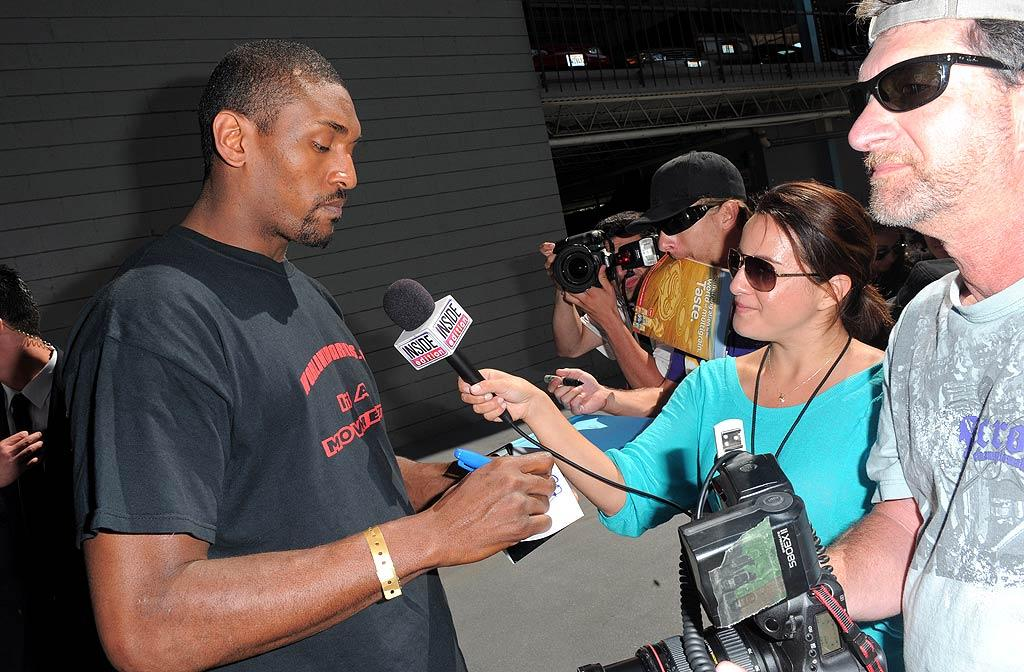 "Less than a week after the LA Lakers' big win in the NBA Finals, forward Ron Artest was in demand as he arrived at the fundraiser. Jordan Strauss/<a href=""http://www.wireimage.com"" target=""new"">WireImage.com</a> - June 21, 2010"