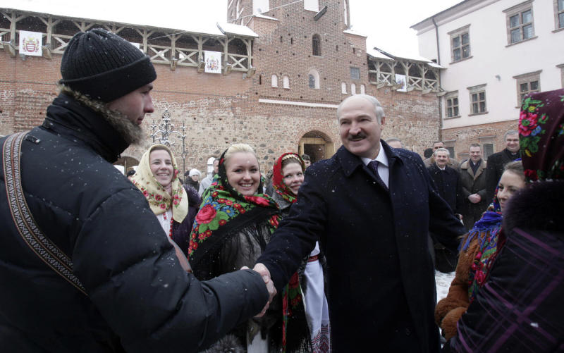 Belarusian President Alexander Lukashenko visits Mir Castle Complex in Grodno region, Belarus, Thursday, Dec. 16, 2010. Presidential elections in Belarus are scheduled for Dec. 19, 2010. (AP Photo/Nikolai Petrov, BelTA)
