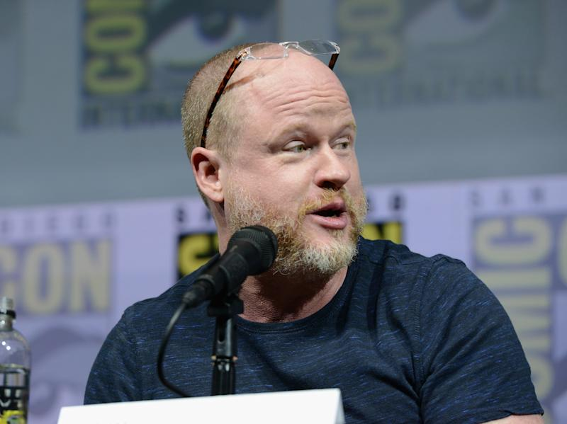 "SAN DIEGO, CA - JULY 20: Joss Whedon speaks onstage at ""Dr. Horrible's Sing-Along Blog"" Reunion during Comic-Con International 2018 at San Diego Convention Center on July 20, 2018 in San Diego, California. (Photo by Albert L. Ortega/Getty Images)"