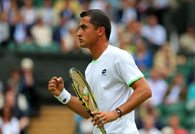 LONDON, ENGLAND - JUNE 28: Nicolas Almagro of Spain celebrates a point during the Gentlemen's Singles third round match against Jerzy Janowicz of Poland on day five of the Wimbledon Lawn Tennis Championships at the All England Lawn Tennis and Croquet Club on June 28, 2013 in London, England. (Photo by Julian Finney/Getty Images)