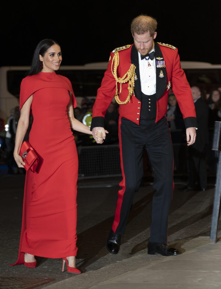 Wearing a Safiyaa dress. (Getty Images)