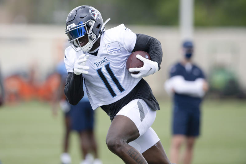Tennessee Titans wide receiver A.J. Brown (11) during NFL football training camp Friday, Aug. 14, 2020, in Nashville, Tenn. (George Walker IV/Pool Photo via AP)