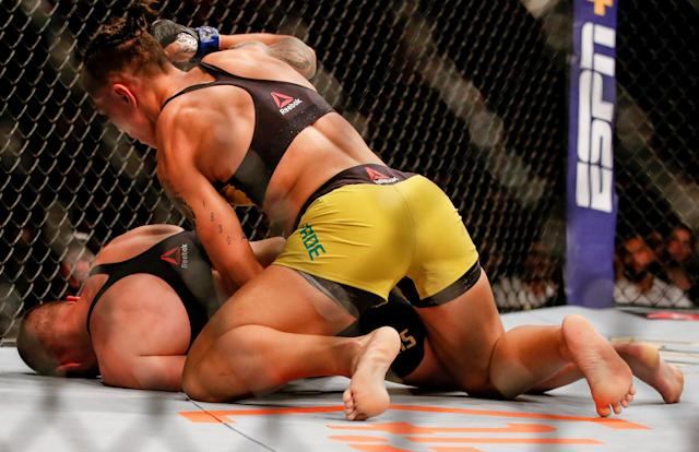 Jessica Andrade knocks out Rose Namajunas in their strawweight title bout during UFC 237 at Jeunesse Arena on May 11, 2019 in Rio de Janeiro. (Getty Images)