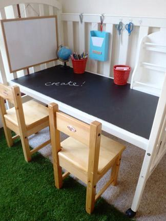 """<div class=""""caption-credit""""> Photo by: Apartment Therapy</div><div class=""""caption-title"""">Crib Turned Craft Table</div>Have an old crib? Instead of kicking it to the curb, rework it into an awesome toddler-sized craft station! Talk about buying a crib to grow with your little one. Amazing! <br> <i><a href=""""http://www.babble.com/crafts-activities/upcycled-10-crafts-that-you-can-make-from-trash-and-turn-into-treasure/?cmp=ELP bbl lp YahooShine Main  031313  Upcycled10CraftsThatYouCanMakeFromTrashAndTurnIntoTreasure famE   """" rel=""""nofollow noopener"""" target=""""_blank"""" data-ylk=""""slk:Get the tutorial at Apartment Therapy"""" class=""""link rapid-noclick-resp"""">Get the tutorial at Apartment Therapy</a> <br> <a href=""""http://www.babble.com/home/25-totally-clever-toy-storage-tips-tricks-2/?cmp=ELP bbl lp YahooShine Main  031313  Upcycled10CraftsThatYouCanMakeFromTrashAndTurnIntoTreasure famE   """" rel=""""nofollow noopener"""" target=""""_blank"""" data-ylk=""""slk:Related: 25 totally clever ways to store your kids' toys"""" class=""""link rapid-noclick-resp""""><b>Related: 25 totally clever ways to store your kids' toys</b></a> <br></i>"""