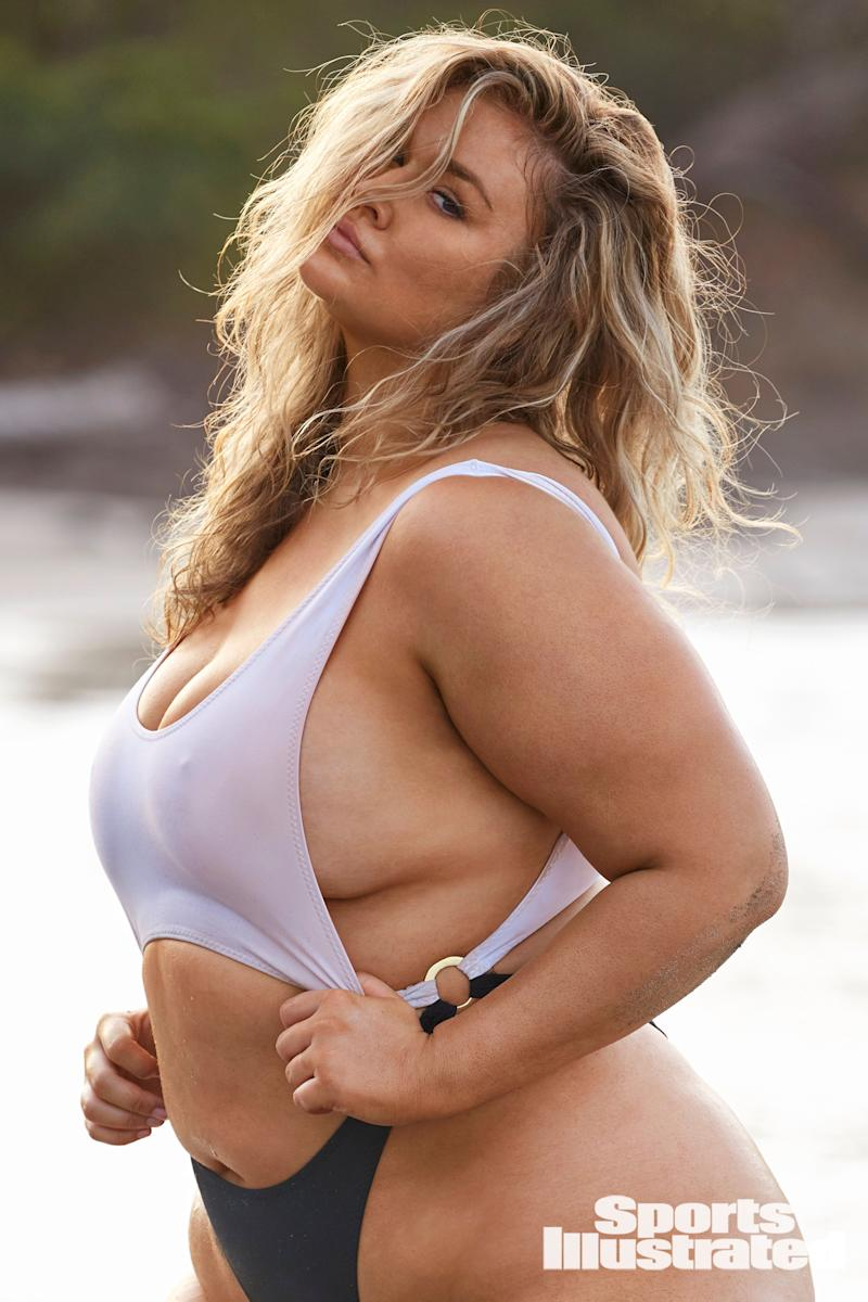 "Plus-size model Hunter McGrady tells us about how she didn't want to ""hide anything"" during her Sports Illustrated Swimsuit shoot, and how she got a lot of DMs after appearing on Shrill."