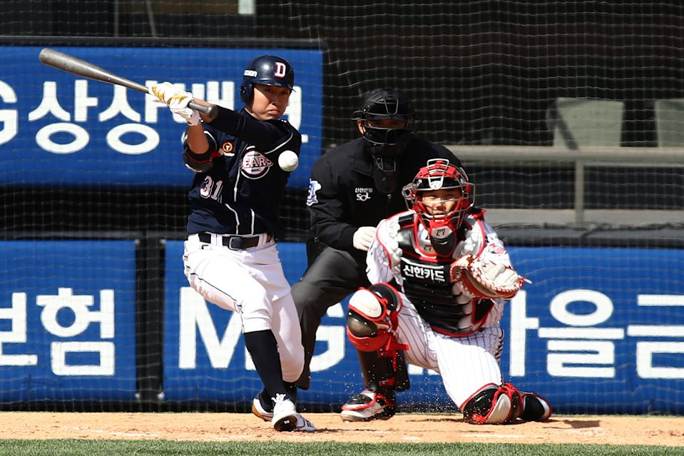 SEOUL, SOUTH KOREA - APRIL 21: (EDITORIAL USE ONLY) Chung Soo-bin of Doosan Bears bats during the preseason game between LG Twins and Doosan Bears at Jamsil Baseball Stadium on April 21, 2020 in Seoul, South Korea. The Korea Baseball Organization (KBO) open a preseason games Tuesday, with its 10 clubs scheduled to play four games each through April 27. The Korea Baseball Organization (KBO) announced Tuesday that the 2020 regular season, postponed from its March 28 start date due to the coronavirus outbreak, will begin May 5.  (Photo by Chung Sung-Jun/Getty Images)