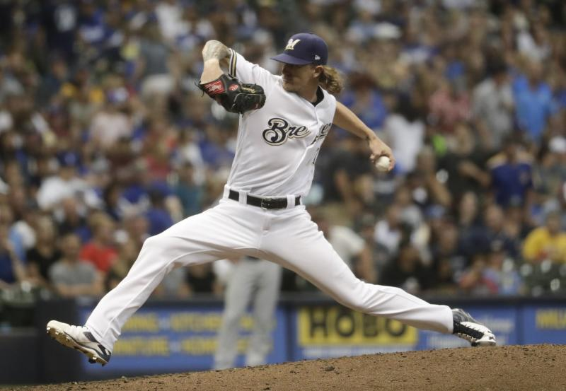 Brewers reliever Josh Hader made his first pitching appearance since his offensive tweets were uncovered during the All-Star Game. (AP)