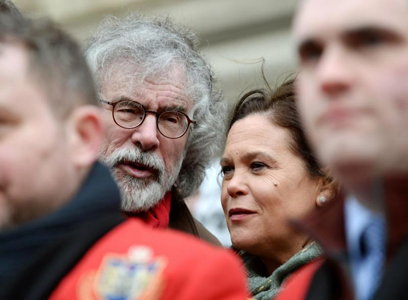 Sinn Féin leader Mary Lou McDonald and former leader Gerry Adams at a rally in Droghedain the wake of the murder of 17-year-old Keane Mulready-Woods.