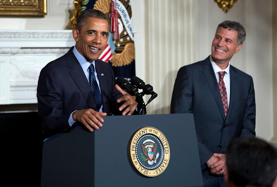 President Barack Obama gestures as he joke with outgoing chairman of his Council of Economic Advisers Alan Krueger in the State Dining Room of the White House in Washington, Monday, June 10, 2013. Obama has nominated Jason Furman, a veteran White House economic official, to replace Krueger, who is returning to Princeton University as tenured faculty member in the economics department. The council is one of two of the president's main sources of economic advice to the president. The other is the National Economic Council, where Furman currently serves as principal deputy director. (AP Photo/Evan Vucci)
