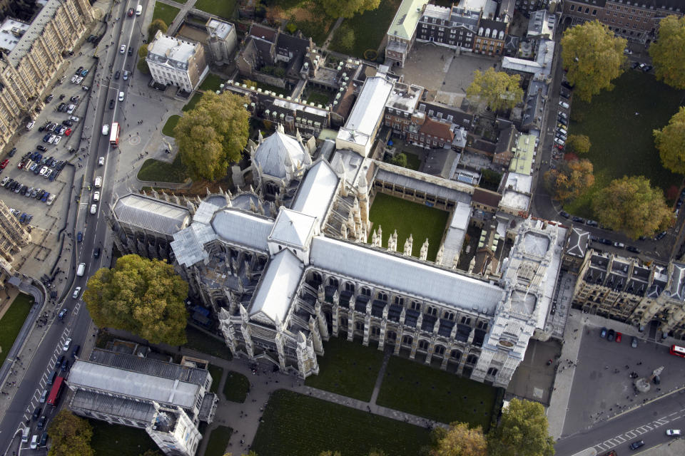 Aerial view of Westminster Abbey and School. (Getty)
