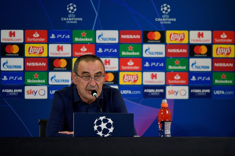 TURIN, ITALY - AUGUST 07: Head coach Maurizio Sarri of Juventus speaks during a press conference after the UEFA Champions League round of 16 second leg match between Juventus and Olympique Lyon at Allianz Stadium on August 07, 2020 in Turin, Italy. (Photo by Daniele Badolato - Juventus FC/Juventus FC via Getty Images) (Photo: Daniele Badolato - Juventus FC via Getty Images)