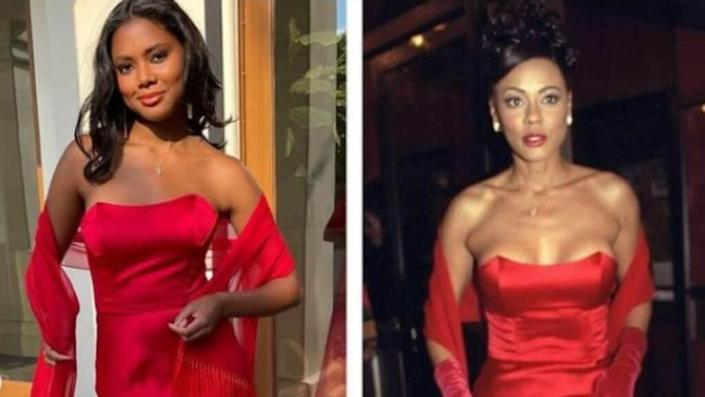 """For her own senior prom, Asia Rochon Fuqua (left), the daughter of actress Lela Rochon, donned the dress her mom wore (right) for the premiere of """"Waiting to Exhale"""" 25 years ago. (Instagram)"""