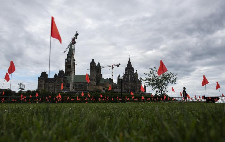 """<span class=""""caption"""">Orange flags fly representing children who died while attending Indian residential schools in Canada, at Major's Hill Park in Ottawa, on July 1, 2021.</span> <span class=""""attribution""""><span class=""""source"""">THE CANADIAN PRESS/Justin Tang </span></span>"""