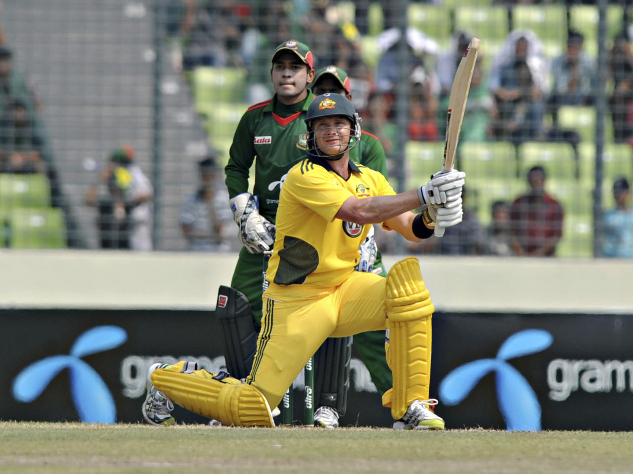Australia's Shane Watson plays a shot during their second one-day international cricket match against Bangladesh in Dhaka, Bangladesh, Monday, April 11, 2011. Australia won the first match of the three-game series on Saturday.