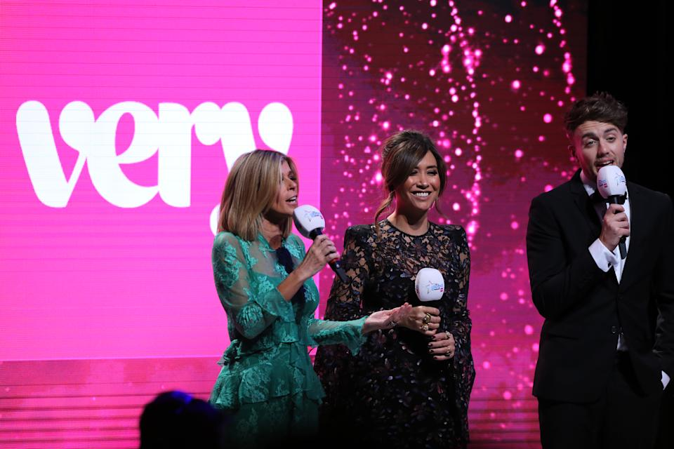 Hosts Myleene Klass (centre) Roman Kemp (right) and Kate Garraway on stage at the Global Awards 2020 with Very.co.uk at London's Eventim Apollo Hammersmith. (Photo by Isabel Infantes/PA Images via Getty Images)