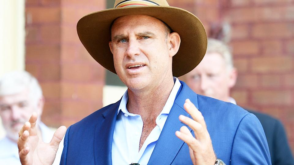 Matthew Hayden, pictured here speaking to the media at an Australian Cricket Hall of Fame induction ceremony.