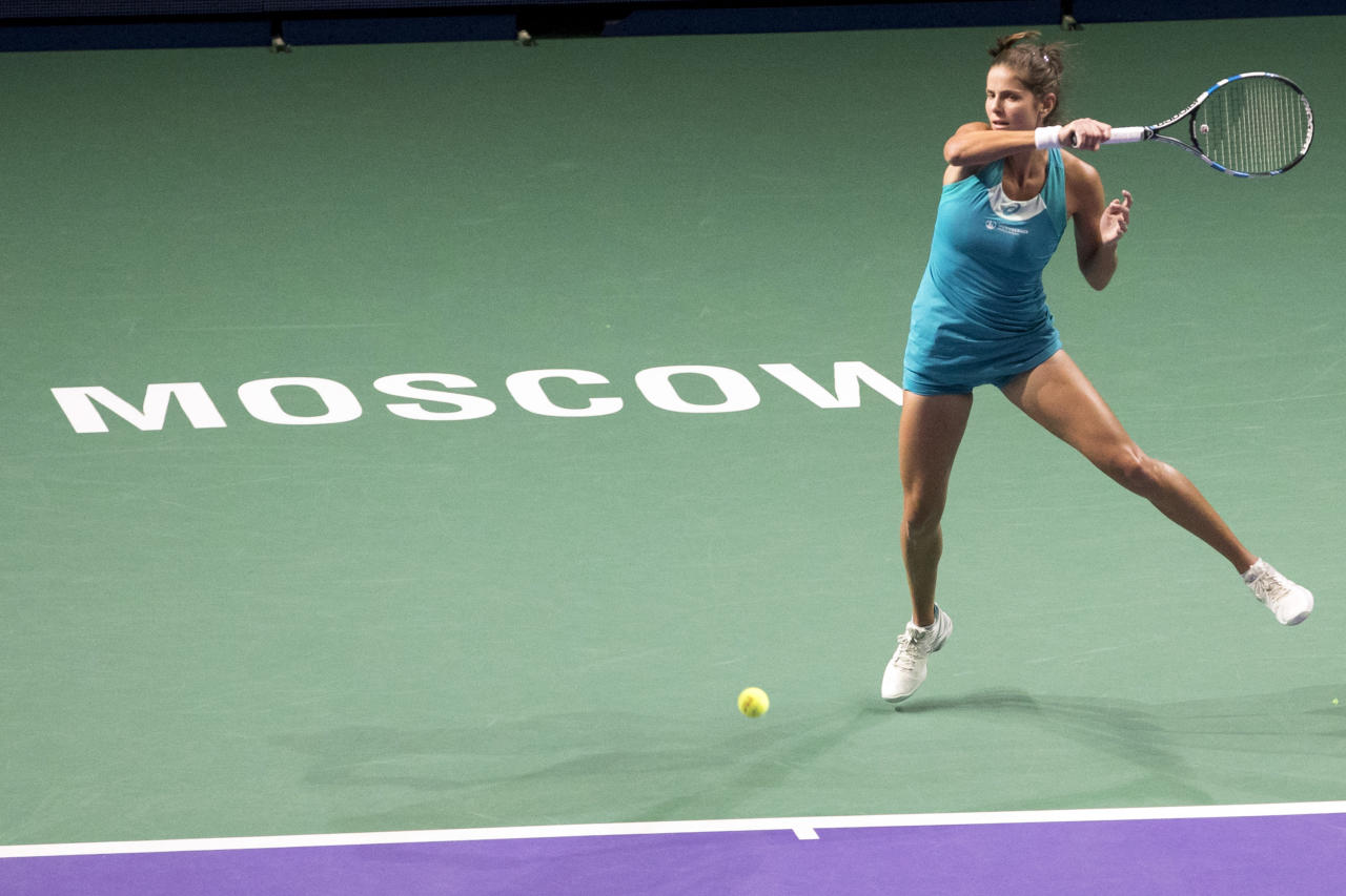 Julia Goerges of Germany in action during her match with Daria Kasatkina of Russia during the final match at the Kremlin Cup tennis tournament in Moscow, Russia, Saturday, Oct. 21, 2017. (AP Photo/Pavel Golovkin)