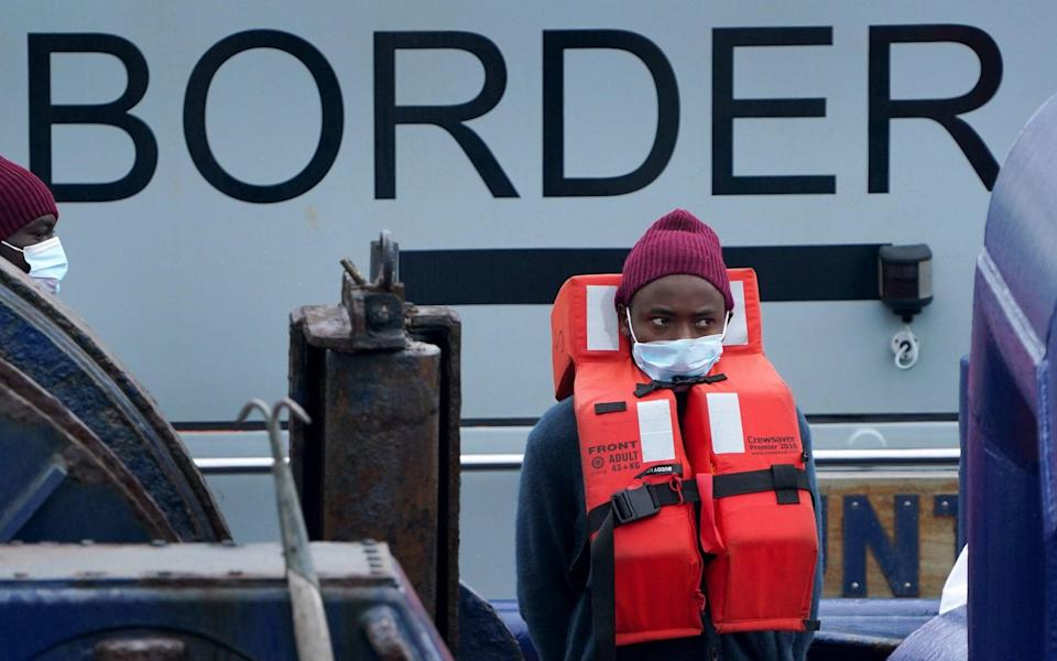 People thought to be migrants are brought in to Dover, Kent, by the Border Force on Tuesday