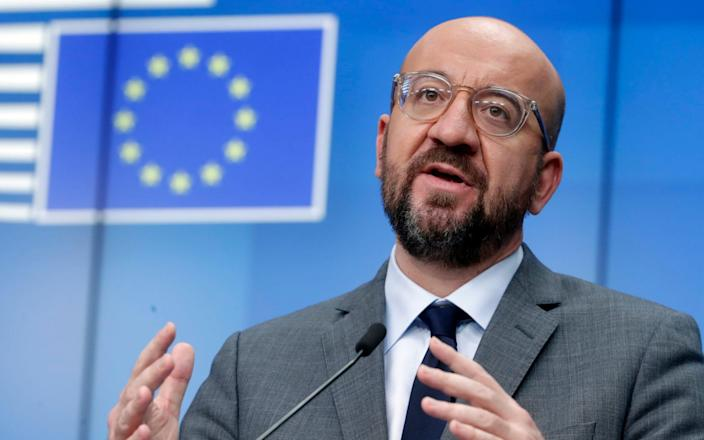 "Charles Michel said that the swearing in of Joe Biden could mean a return to a ""respectful"" dialogue between Europe and the US - Olivier Hoslet /Pool EPA"