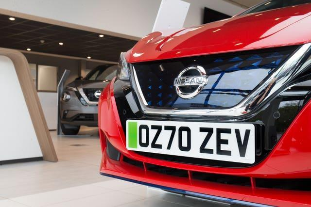 Green number plates making it easier to identify electric cars launched last month (Nissan/PA)
