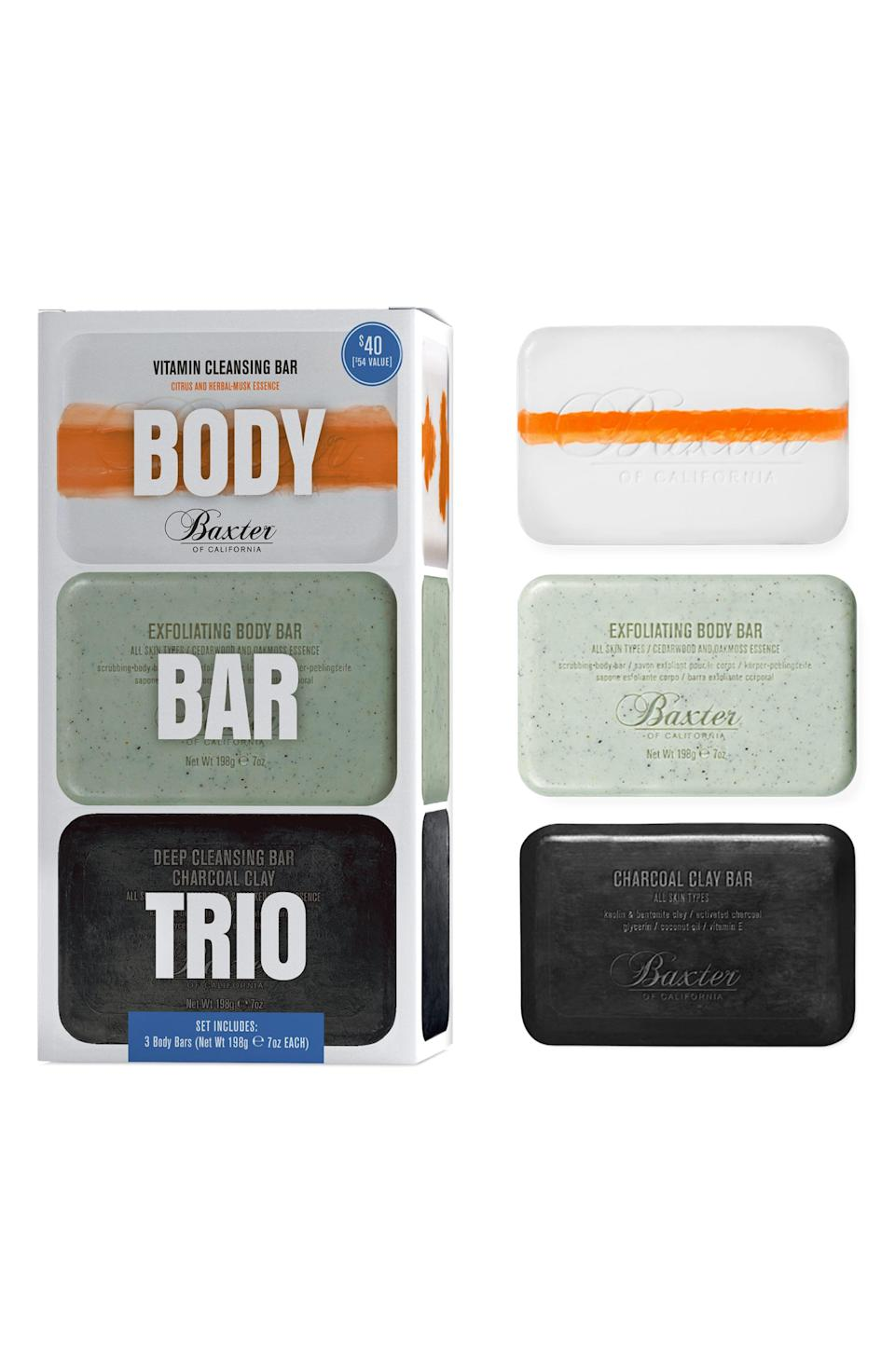 """<h3><strong>Baxter Of California</strong> Body Bar Trio</h3><br><br>If he doesn't care about how he washes his face, combs his hair, or trims his beard, then there's always chic bar soap, which fits right into his comfort level.<br><br><strong>Baxter of California</strong> Body Bar Trio, $, available at <a href=""""https://go.skimresources.com/?id=30283X879131&url=https%3A%2F%2Fshop.nordstrom.com%2Fs%2Fbaxter-of-california-body-bar-trio-54-value%2F4982985%3Forigin%3Dcategory-personalizedsort%26breadcrumb%3DHome%252FMen%252FGrooming%2520%2526%2520Cologne%252FGifts%2520%2526%2520Sets%26color%3Dnone"""" rel=""""nofollow noopener"""" target=""""_blank"""" data-ylk=""""slk:Nordstrom"""" class=""""link rapid-noclick-resp"""">Nordstrom</a>"""