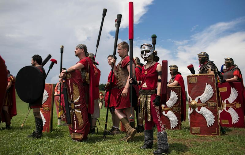 People prepare to battle at Ragnarok, an annual live action role-playing battle in Slippery Rock, Pennsylvania, on June 23, 2018. (Photo: Maddie McGarvey for HuffPost)