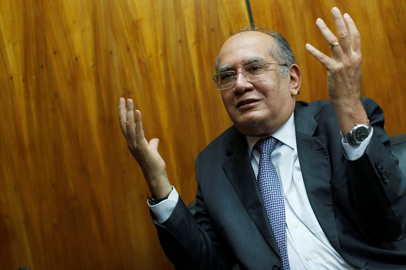 Judge Gilmar Mendes gestures during an interview with Reuters in Brasilia, Brazil August 22, 2019. Picture taken August 22, 2019. REUTERS/Adriano Machado